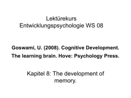 Goswami, U. (2008). Cognitive Development. The learning brain. Hove