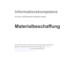 Informationskompetenz Materialbeschaffung - E