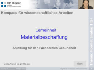 Materialbeschaffung - E-Learning an der FHS St. Gallen