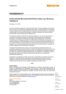 Ordina behaalt Microsoft Gold Partner