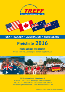 Preisliste High School 2016 USA. Kanada