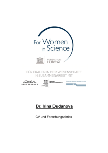 Dr. Irina Dudanova - For women in science