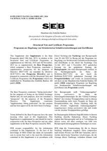Structured Note and Certificate Programme Programm zur