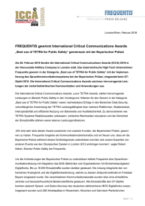 FREQUENTIS gewinnt International Critical Communications Awards