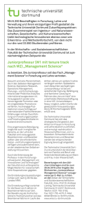"Juniorprofessur (W1 mit tenure track nach W2) ""Management Science"""
