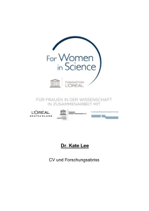 Dr. Kate Lee - For women in science