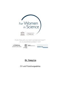 Dr. Yang Liu - For women in science