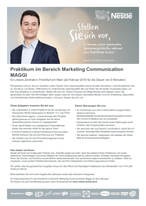 Praktikum im Bereich Marketing Communication MAGGI