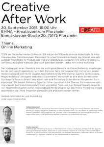 30. September 2015, 19.00 Uhr EMMA – Kreativzentrum Pforzheim