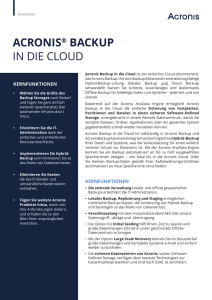 Acronis Backup in die Cloud Datenblatt