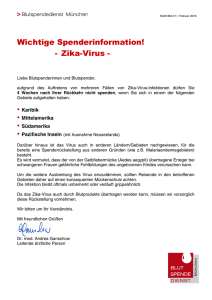 Wichtige Spenderinformation! - Zika-Virus -