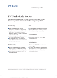 BW Park+Ride Konto. - BW-Bank