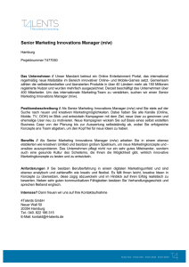 Senior Marketing Innovations Manager (m/w)