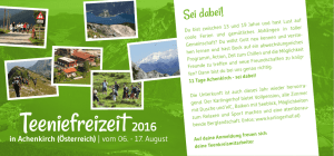 Flyer Teeniefreizeit 2016