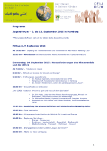 Programm Jugendforum – 9. bis 13. September 2015 in Hamburg