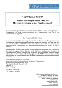 * Early Career Award* Adolf-Ernst-Meyer-Preis 2016 für