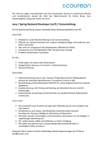 Java / Spring Backend Developer (m/f) / Festanstellung