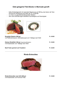 Edel gelagerte Filet-Stücke in Marinade gereift Rinds