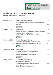 menüplan kw 15: 11. 04. - 15. 04.2016 - Pabst - Power