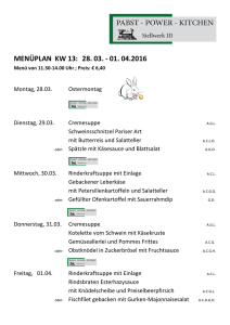 menüplan kw 13: 28. 03. - 01. 04.2016 - Pabst - Power