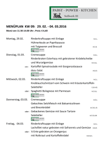 menüplan kw 09: 29. 02. - 04. 03.2016 - Pabst - Power