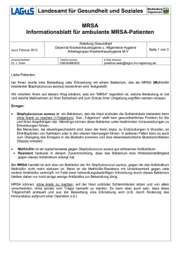 MRSA Informationsblatt für ambulante MRSA