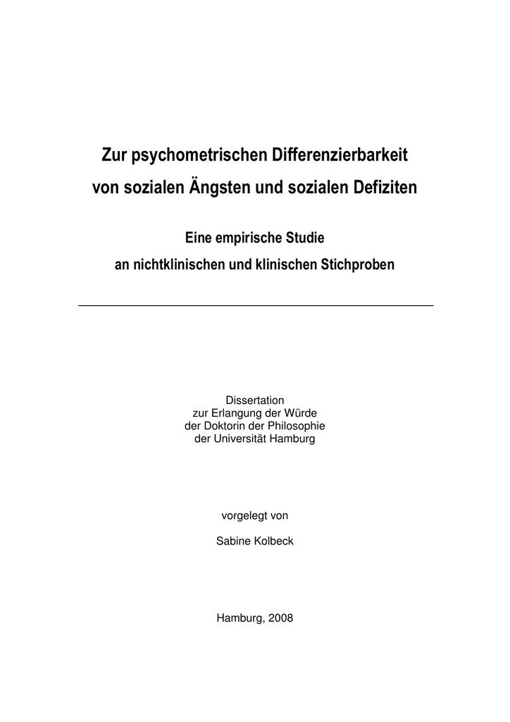 """Zur psychometrischen Differenzierbarkeit von sozialen """"ngsten und"""