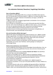 Clostridium difficile Informationen für ambulante Patienten