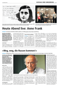 Heute Abend live: Anne Frank