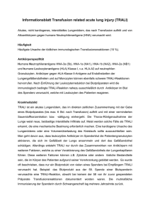 Informationsblatt Transfusion related acute lung injury (TRALI)