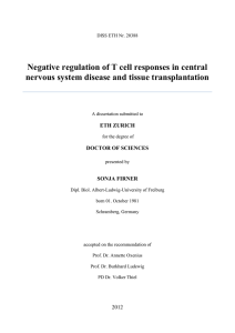 Negative regulation of T cell responses in central - ETH E