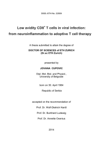 Low avidity CD8 T cells in viral infection: from - ETH E