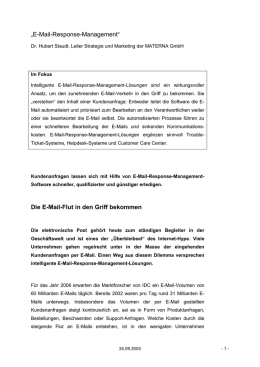 """E-Mail-Response-Management"" Die E-Mail-Flut"