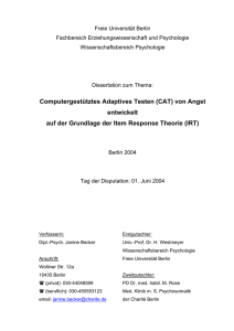 Computergestütztes Adaptives Testen (CAT)