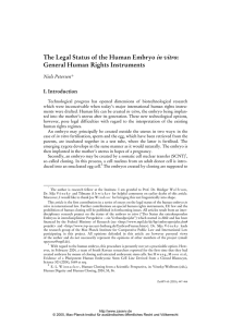 The Legal Status of the Human Embryo in vitro