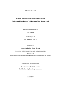 A Novel Approach towards Antimalarials: Design and Synthesis of