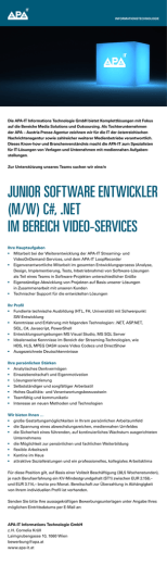 junior software entwickler (m/w) c#, .net im bereich video