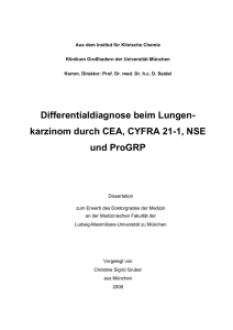 Differentialdiagnose beim Lungenkarzinom durch CEA, CYFRA 21