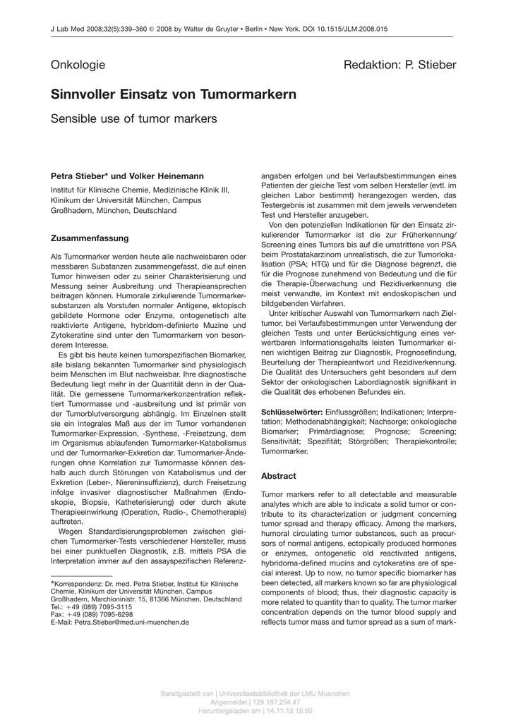 Sinnvoller Einsatz Von Tumormarkern