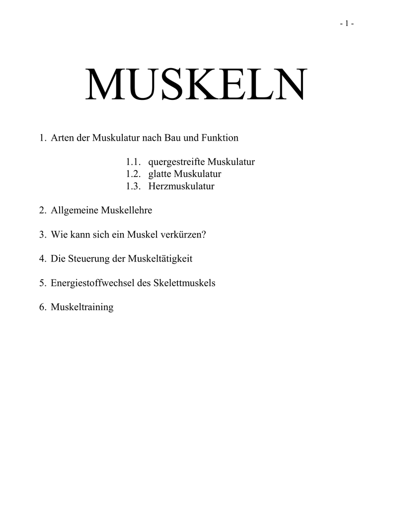 Berühmt Die Funktion Der Muskulatur Zeitgenössisch - Menschliche ...