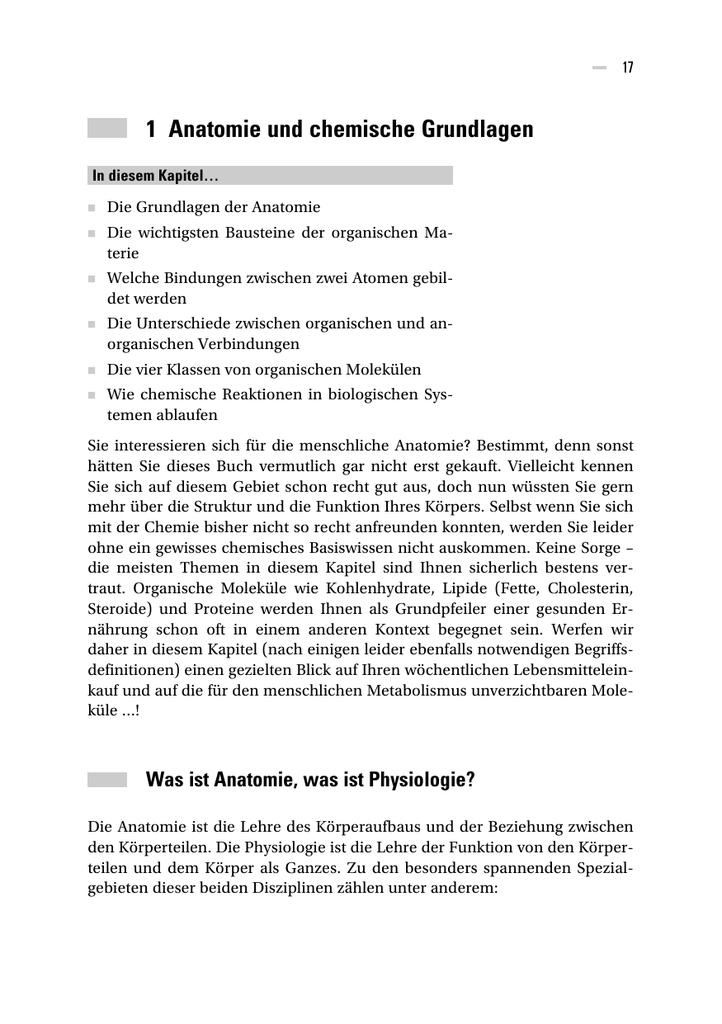 1 Anatomie und chemische Grundlagen - Wiley-VCH