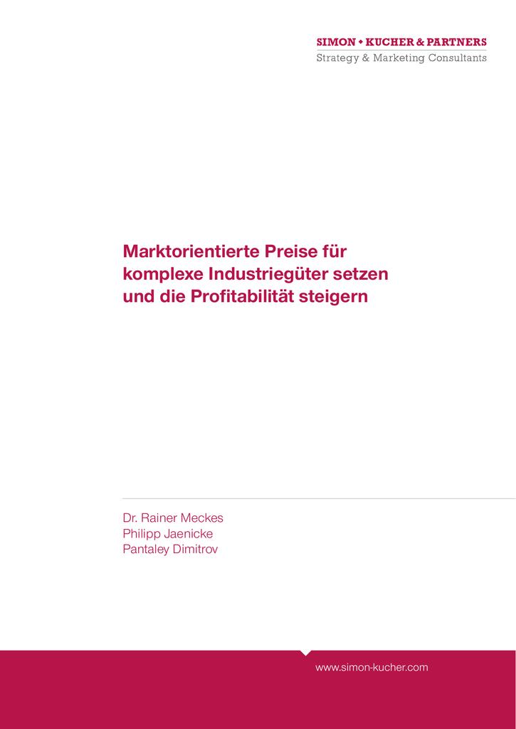 Marktorientierte Preise Fur Komplexe Industrieguter Setzen Und Die