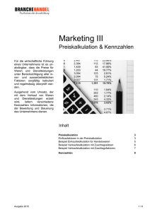 Marketing III - Preiskalkulation & Kennzahlen