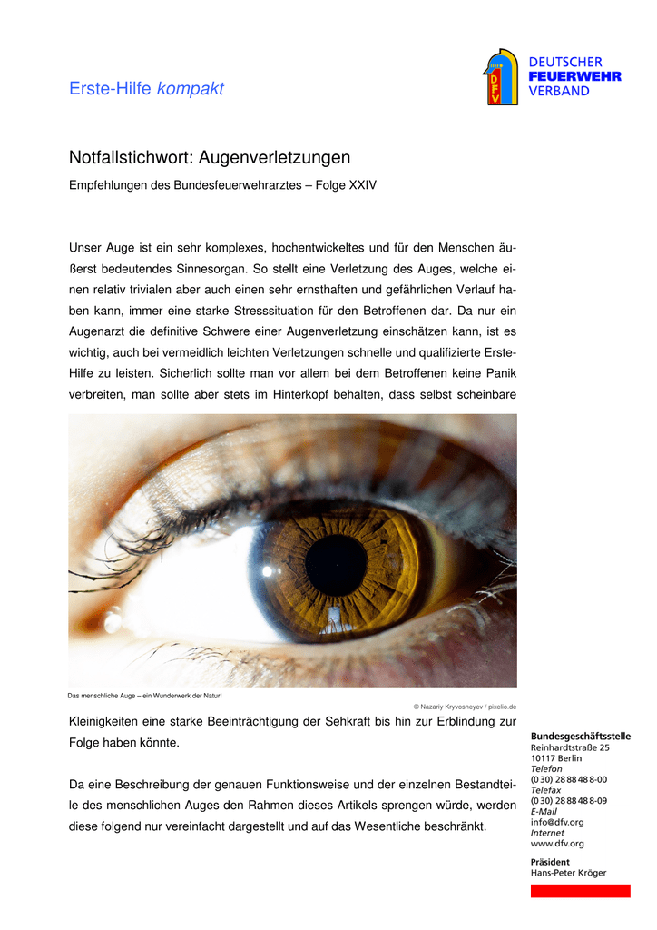 Augenverletzungen - Deutscher Feuerwehrverband
