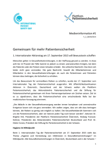 Presse-Informationen - Internationaler Tag der Patientensicherheit