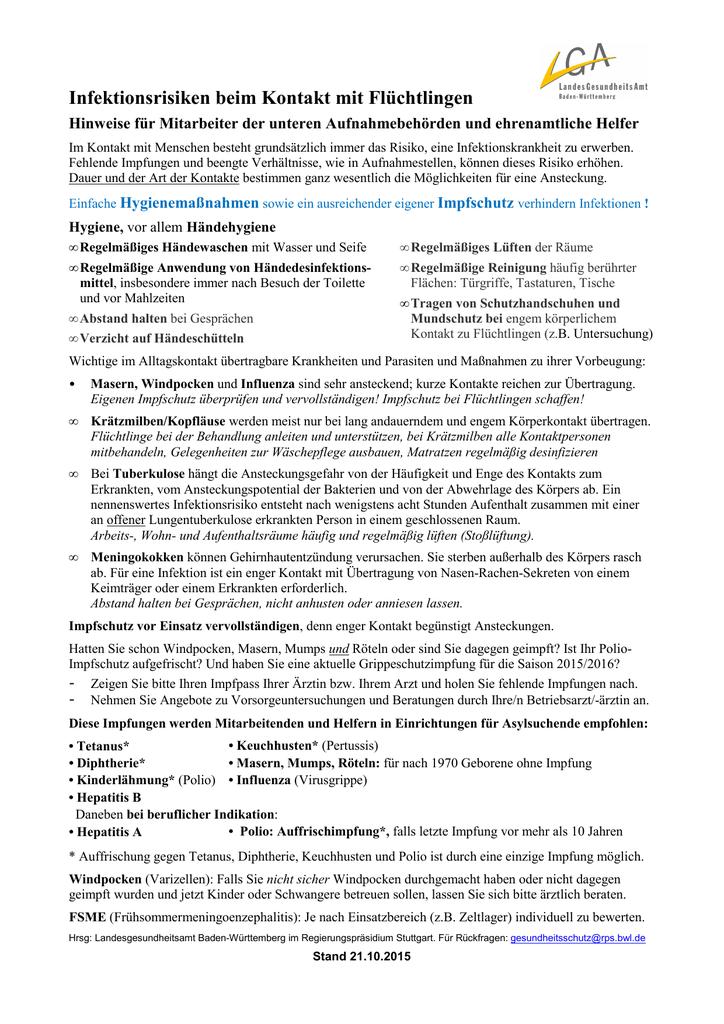 Merkblatt Infektionsrisiken beim Kontakt mit Flüchtlingen Hinweise