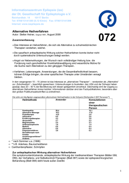 Alternative Heilverfahren Informationszentrum Epilepsie (ize) der Dt