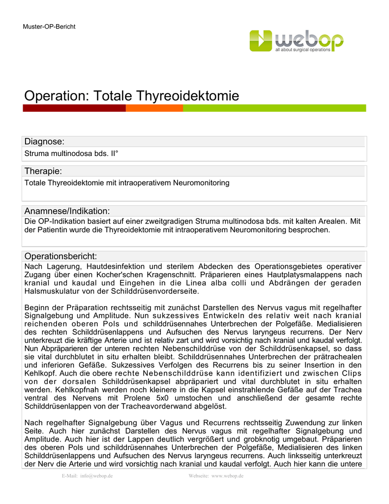 Operation: Totale Thyreoidektomie
