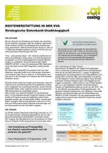 KOSTENERSTATTUNG IN DER SVA Strategische Datenbank
