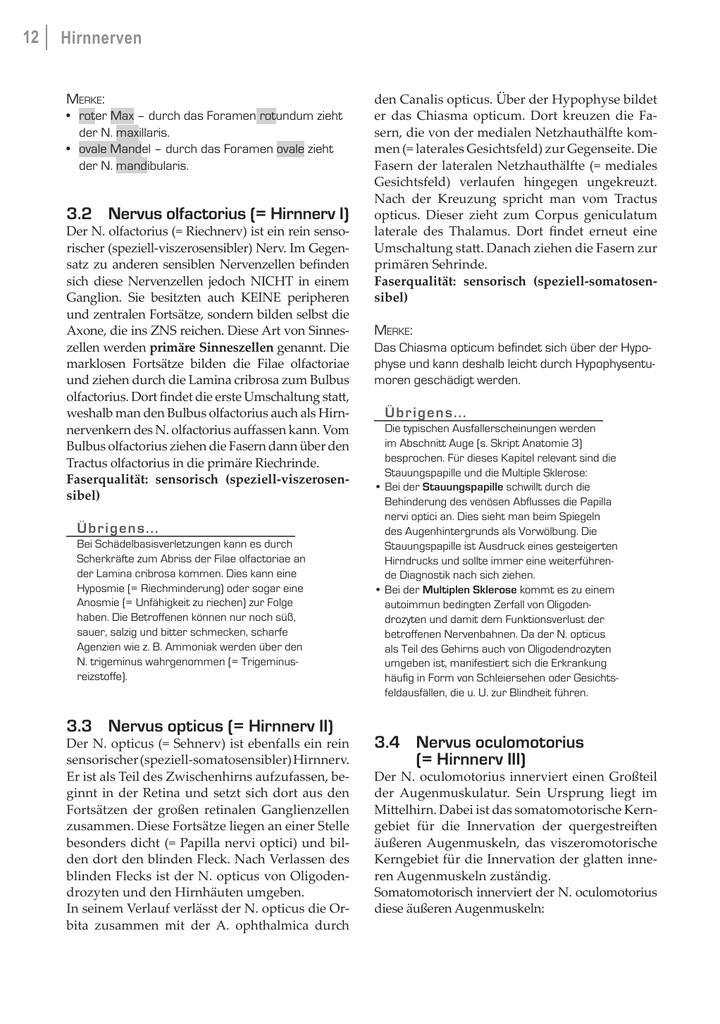 12 Hirnnerven 3.2 Nervus olfactorius (= Hirnnerv I) - Medi